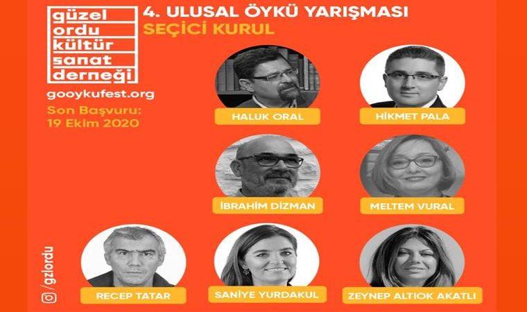 Güzel Ordu Öykü Yarışması duyuru görselidir. Görselde turuncu fon üzerine yarışma jürisinin fotoğrafları eklenerek isimlerine yer verilmiş. Ayrıca yarışma adı yazmaktadır.
