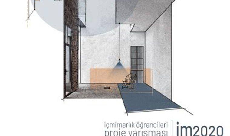 im2020 İçmimarlık Öğrencileri Proje Yarışması duyuru görselidir. Görselde bir iç mekanın çizimi görülmektedir.