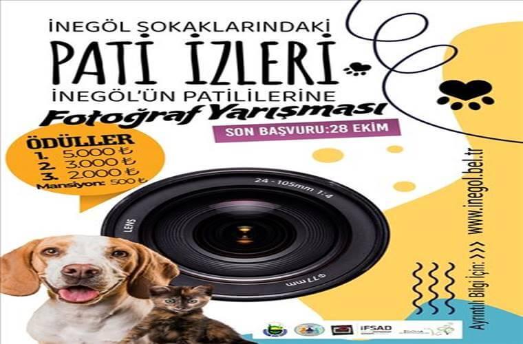 İnegöl'ün Patililerine Fotoğraf Yarışması duyuru görselidir. Görselde fotoğraf makinası vizörü, bir kedi bir köpek görülmekte ve yarışma bilgileri yazmakta.