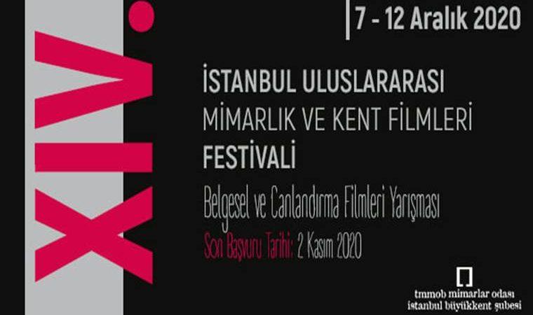 İstanbul Uluslararası Mimarlık ve Kent Filmleri Festivali duyuru görselidir. Görselde on dördüncü rakamı Yatay ve Roma rakamları ile yazılmıştır. Siyah zemin üzerinde yarışma bilgileri yer almaktadır.