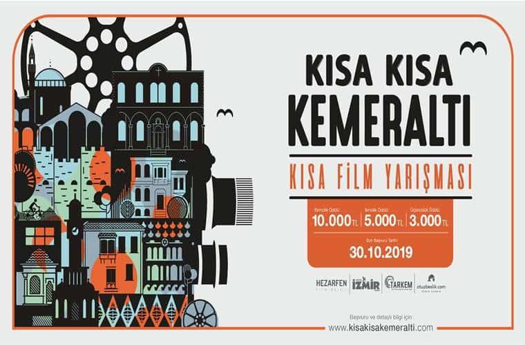 Kısa Kısa Kemeraltı Kısa Film Yarışması duyuru görselidir. Görselde film endüstrisiyle ilgili çeşitli objelerin olduğu bir resim yer almakta ve siyah turuncu yazılarla yarışma bilgileri yer almaktadır.