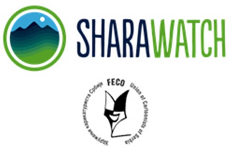 Görselde beyaz zemin üzerinde SharaWatch yazısı yer almaktadır. Yazının yanında bir daire içinde doğa resmi yer almaktadır. Görselin alt kısmında ise yarışmayı düzenleyen kuruluşun logosu yer almaktadır.