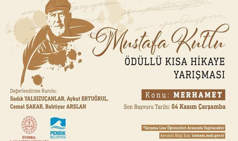 Mustafa Kutlu Ödüllü Kısa Hikaye Yarışması duyuru görselidir. Görselde sarı tonlarıyla çizilmiş Mustafa Kutlu resmi yer almaktadır. Ayrıca yarışma bilgilerine yer verilmiştir.
