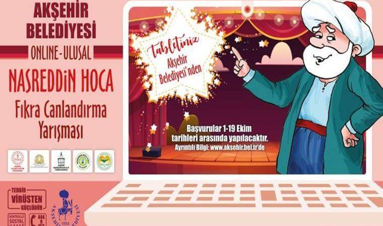 Online Nasreddin Hoca Fıkra Canlandırma Yarışması duyuru görselidir. Görselde dizüstü bilgisayar ekranında Nasreddin Hoca'nın güler yüzlü bir temsili bulunmakta. Ayrıca yarışma bilgileri yazmakta.