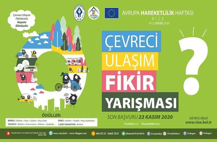 Rize Belediyesi Çevreci Ulaşım Fikir Yarışması duyuru görselidir. Görselde yeşil bir fon üzerine renkli yazılarla yarışma bilgilerine yer verilmiştir.