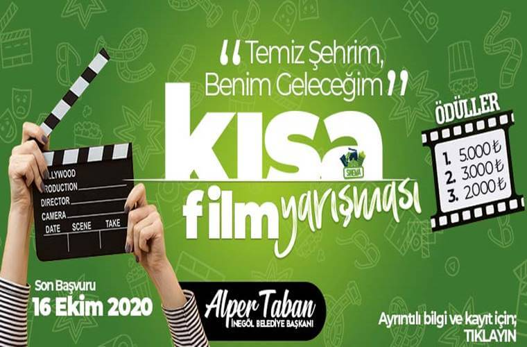 İnegöl Belediyesi Temiz Şehrim, Benim Geleceğim Kısa Film Yarışması duyuru görselidir. Görselde yeşil fon üzerinde yarışma bilgileri yer almakta ve sinema klaketi görülmekte.