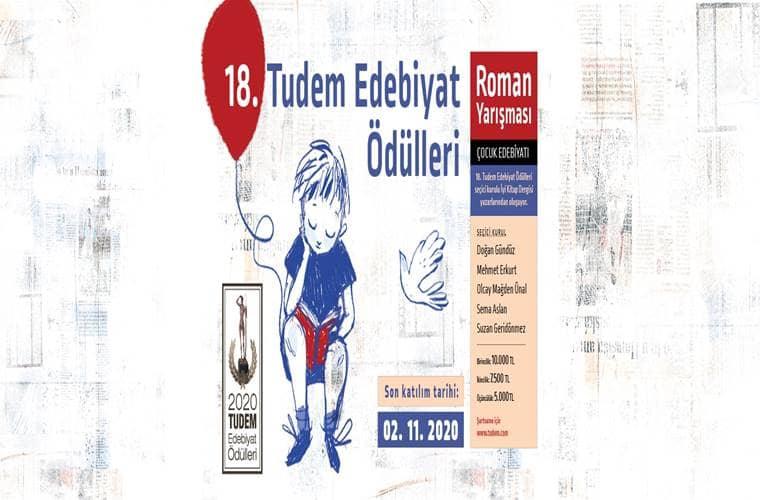 Tudem Edebiyat Ödülleri Roman Yarışması duyuru görselidir. Görselde elinde balon tutan bir çocuk çizimi yer almakta ve yarışma bilgileri yazmaktadır.