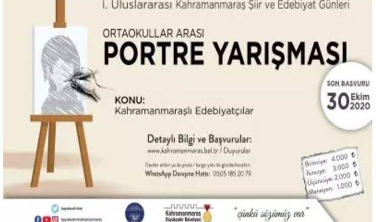 Uluslararası Kahramanmaraş Şiir ve Edebiyat Günleri Ortaokullar Arası Resim (Portre) Yarışması duyuru görselidir. Görselde resim tuvalinin üzerinde temsili bir portre yer almakta ve yarışma bilgileri yazmaktadır.