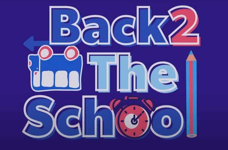 Back2TheSchool İdeathon Fikir Yarışması duyuru görselidir. Görselde mavi fonda renkli ve farklı karakterlerle yarışma adı yazmaktadır.
