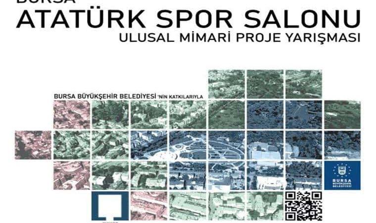 Bursa Atatürk Spor Salonu Mimari Proje Yarışması duyuru görselidir. Görselde bahsi geçen alanın havadan çekilmiş görüntüsü yer almakta ve yarışma adı yazmaktadır.