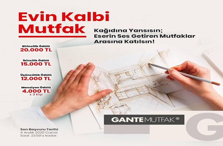 Gante Evin Kalbi Mutfak Fikir Projesi Yarışması duyuru görselidir. Görselde çizim yapan bir el görülmekte ve yarışma bilgileri yazmaktadır.