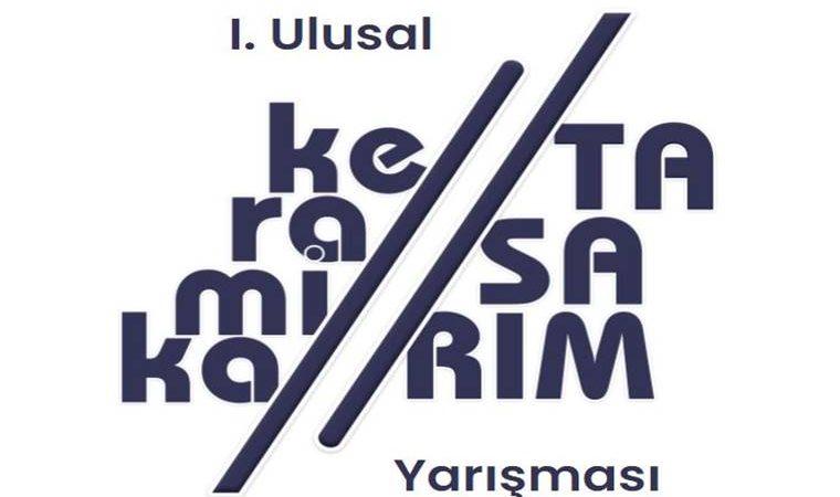 Keramika Ulusal Tasarım Yarışması duyuru görselidir. Görselde beyaz fonda keramika kelimesi ve tasarım kelimesi hecelenmiş ve üst üste gelmiş şekilde yazılmıştır.