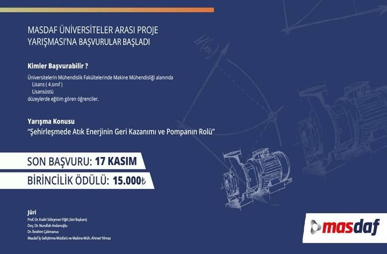 Üniversiteler Arası Proje Yarışması duyuru görselidir. Görselde mavi fonda yarışma bilgileri yer almaktadır. Ayrıca çeşitli makine çizimleri görülmektedir.