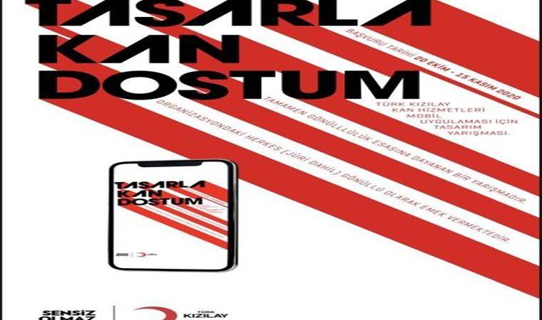 Tasarla Kan Dostum Mobil Uygulama Tasarım Yarışması duyuru görselidir. Görselde kırmızı ve beyaz kalın şeritler görülmekte ve farklı bir punto ile yarışma adı yazmakta.