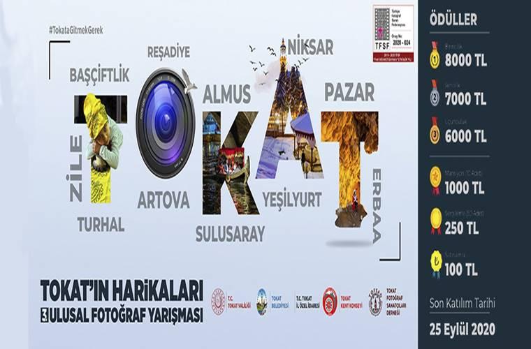 Tokat'ın Harikaları Ulusal Fotoğraf Yarışması duyuru görselidir. Görselde büyük harfler ve büyük puntoyla TOKAT yazmakta. Her harfin içerisinde de şehre ait bir güzelliğin görseli bulunmaktadır.