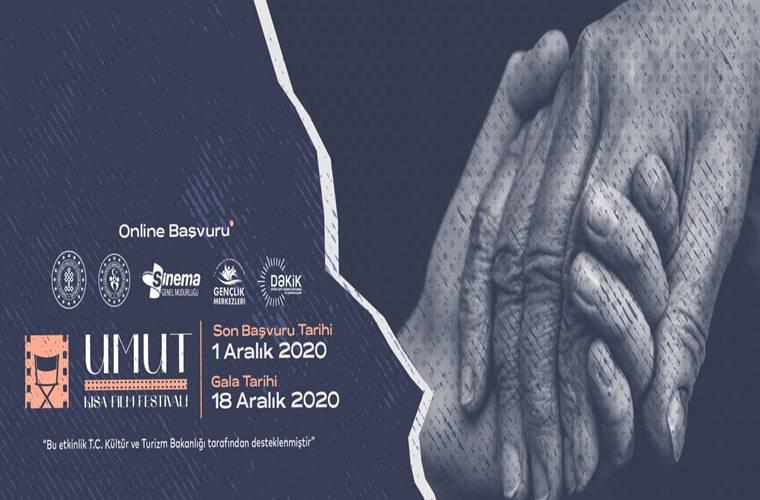 Umut Ulusal Kısa Film Yarışması duyuru görselidir. Görselde yaşlı biri ile genç birinin eli yardımlaşma amacıyla bir araya gelmiştir.