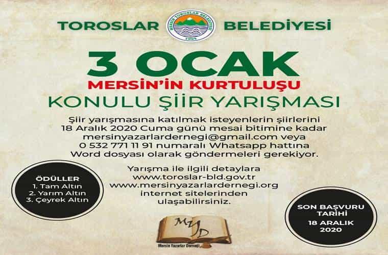 3 Ocak Mersin'in Kurtuluşu Konulu Şiir Yarışması