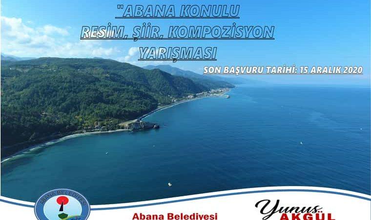 Abana Konulu Resim, Şiir Ve Kompozisyon Yarışması duyuru görselidir. Görselde Abana ilçesine ait deniz manzaralı bir fotoğraf görülmekte üzerinde de yarışma adı yazmaktadır.