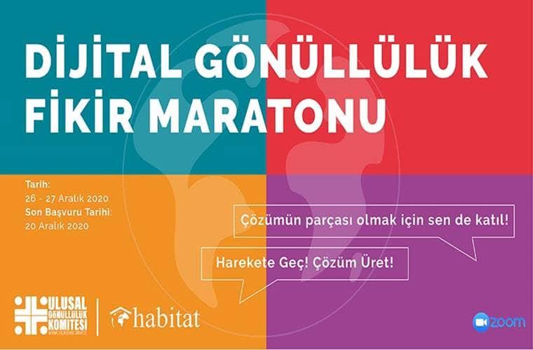 Dijital Gönüllülük Fikir Maratonu duyuru görselidir. Görsel mavi kırmızı sarı ve mor omak üzere dört eşit renkten oluşmaktadır. Bu renklerin oluşturduğu dikdörtgende yarışma bilgileri yazmaktadır.
