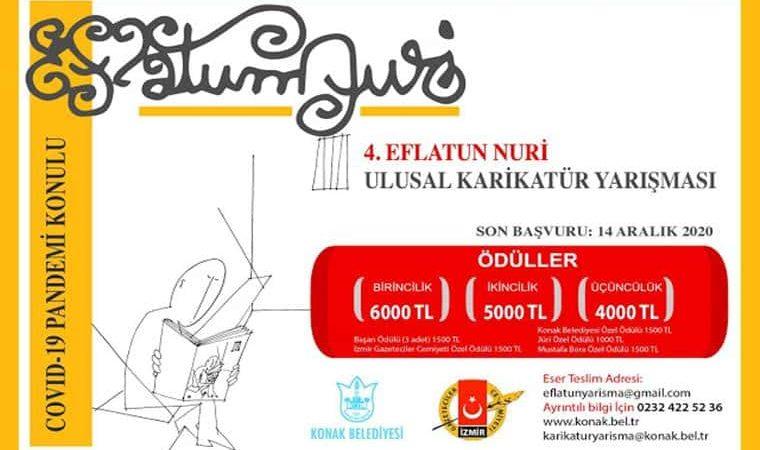 Eflatun Nuri Ulusal Karikatür Yarışması duyuru görselidir. Beyaz fonda ve sarı çerçeveli görselin içerisinde karikatür çizimleri görülmekte ve yarışma adı yazmaktadır.