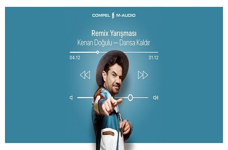 Kenan Doğulu Remix Yarışması duyuru görselidir. Görselde mavi fonda müzik çalar uygulaması görüntüsü bulunmakta ayrıca Kenan Doğulu yan bir şekilde ekrana neşeyle bakmaktadır.