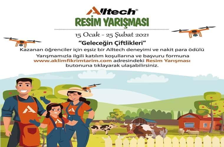 Alltech Resim Yarışması duyuru görselidir. Görselde arkplanda bir çiftlik ve hayvanlar görülüyor. Ön planda ise anne baba ve çocukları neşeyle ekrana bakıyor.