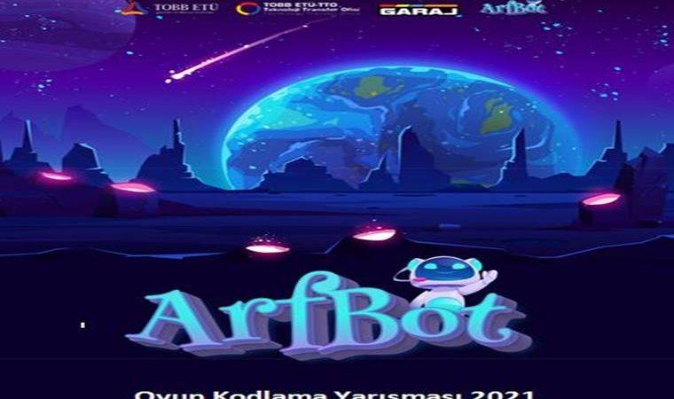 ArfBot Oyun Kodlama Yarışması 2021 duyuru görselidir. Görselde ArfBot platformuna ait robot görüntüsü yer almakta ayrıca gelişmiş bir dünya ve gezegenleri arkaplanda görülmektedir.
