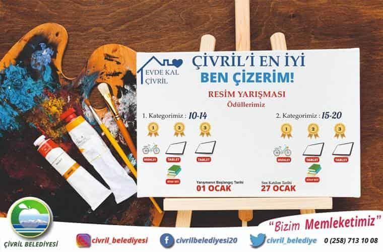 Çivril Belediyesi Resim Yarışması duyuru görselidir. Görselde resim tuvali görülmekte ve arkaplanda resim boyaları görülmektedir.