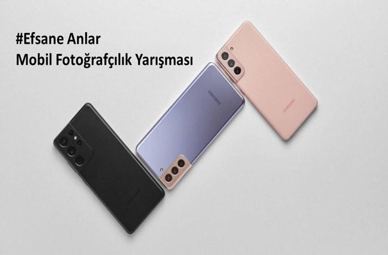 Efsane Anlar Mobil Fotoğrafçılık Yarışması duyuru görselidir. Görselde üç farklı renkte Galaxy S21 telefonları arkası görülmekte.