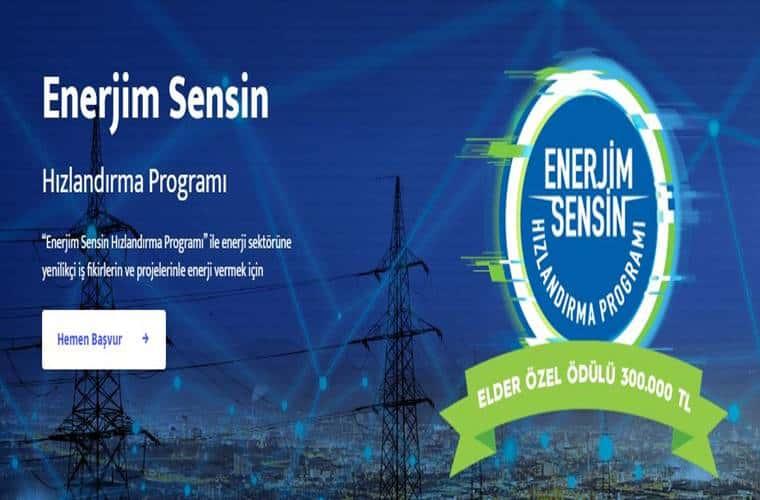 Enerjim Sensin Girişim Hızlandırma Programı duyuru görselidir. Görselde enerji trafoları ve hatları arka planda görülmekte ön tarafta yarışma ödülü 300 Bin Türk Lirası olduğu yazmaktadır.