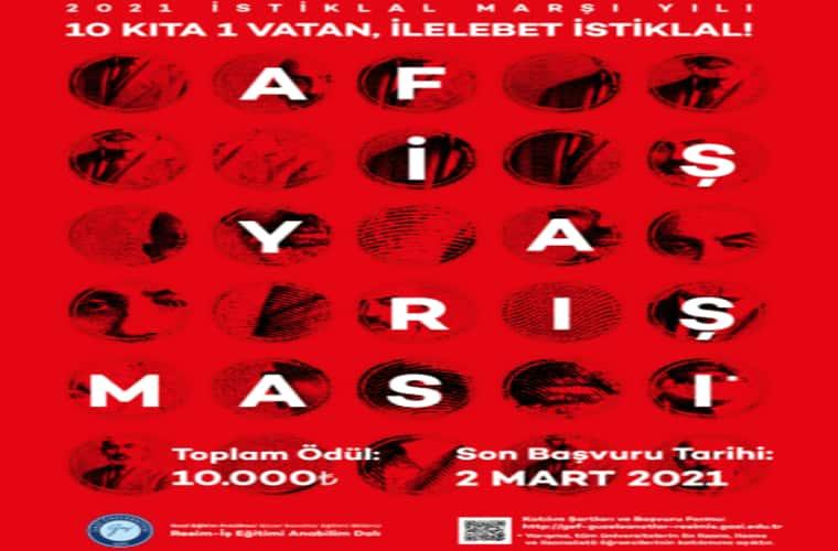 """Gazi Üniversitesi """"On Kıta Bir Vatan İlelebet İstiklal"""" Temalı Afiş Tasarım Yarışması duyuru görselidir. Kırmızı fonlu görselde bir çok parmak izi şekli görülmekte; bu şekillerin içerisinde Mehmet Akif Ersoy'a ait fotoğraflar bulunmaktadır. Ayrıca yarışma bilgileri yazmaktadır."""