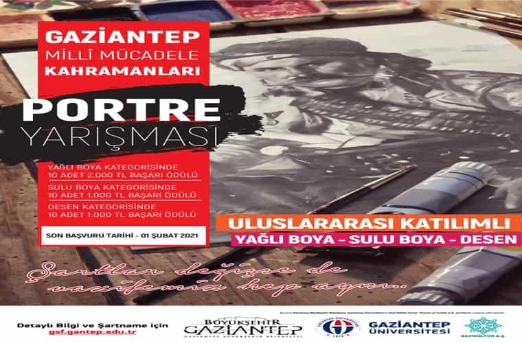 Gaziantep Üniversitesi Uluslararası Portre Yarışması duyuru görselidir. Görselde arka planda bir portre görülmekte ve yarışma bilgileri yazmaktadır.
