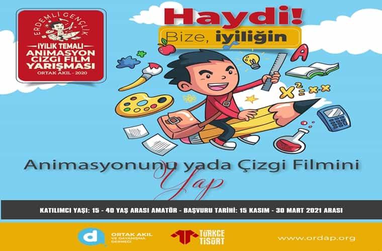 İyilik Temalı Ulusal Animasyon - Çizgi Film Yarışması duyuru görselidir. Görselde kurşun kalemin üzerinde uçan bir çocuk görülmektedir.