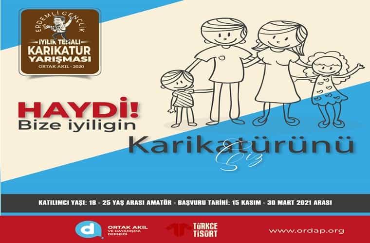 İyilik Temalı Ulusal Karikatür Yarışması duyuru görselidir. Görselde ayakta duran anne baba ve çocuk çizimi görülmektedir.
