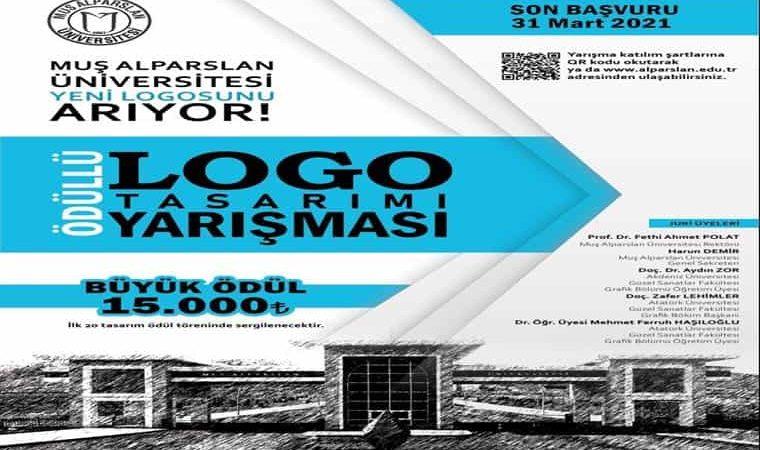 Muş Alparslan Üniversitesi Ödüllü Logo Tasarımı Yarışması duyuru görselidir. Görselde Üniversiteye ait bir bina görülmekte ayrıca yarışma bilgileri büyük puntolarla yazılmaktadır.