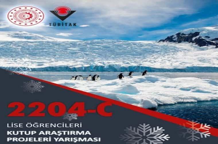 TÜBİTAK Lise Öğrencileri Kutup Araştırma Projeleri Yarışması duyuru görselidir. Görselde kuzey kutbunda buzulların üzerindeki penguenler görülmektedir.