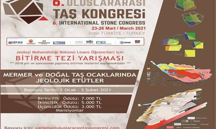 Uluslararası Taş Kongresi Bitirme Projesi Yarışması duyuru görselidir.