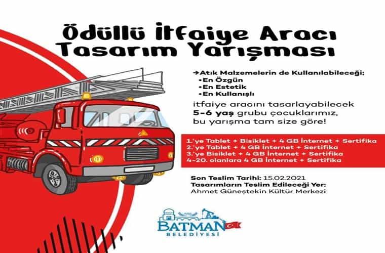 Batman Belediyesi İtfaiye Aracı Maketi Tasarım Yarışması duyuru görselidir.