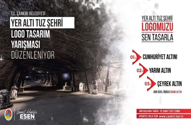 Çankırı Belediyesi Yer Altı Tuz Şehri Logo Tasarım Yarışması duyuru görselidir.