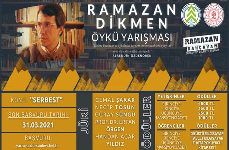 Dursunbey Belediyesi Ramazan Dikmen Öykü Yarışması duyuru görselidir.