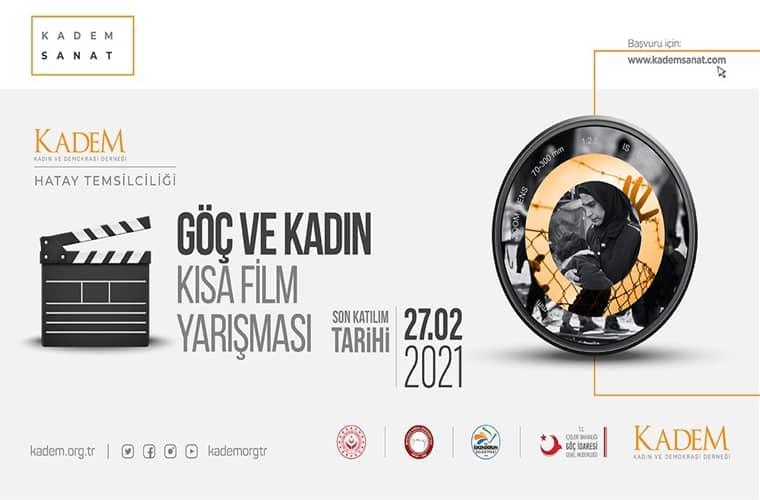 Göç ve Kadın Konulu Kısa Film Yarışması duyuru görselidir.