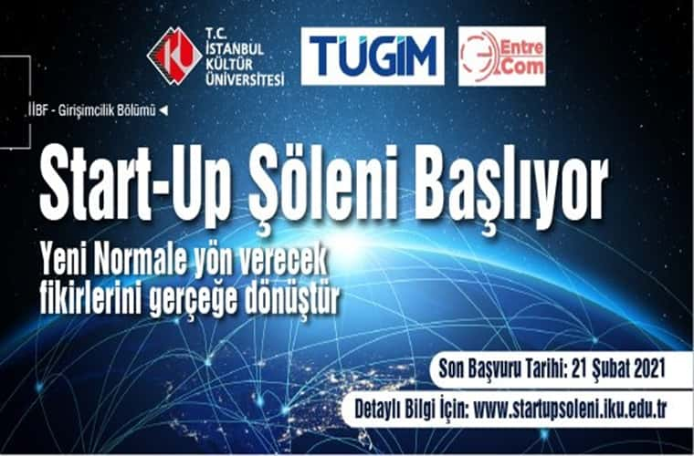 İstanbul Kültür Üniversitesi Start-Up Şöleni Fikir Yarışması duyuru görselidir.