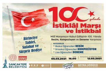 İstiklal Marşı ve İstikbal Resim, Kompozisyon ve Deneme Yarışması duyuru görselidir.