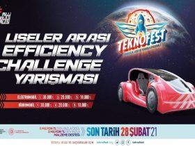 TEKNOFEST Liseler Arası Efficiency Challenge Elektrikli Araç Yarışması duyuru görselidir.
