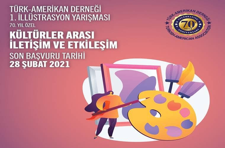 Türk Amerikan Derneği İllüstrasyon Yarışması duyuru görselidir.