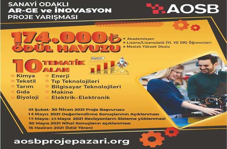 AOSB Sanayi Odaklı AR-GE ve İnovasyon Proje Yarışması duyuru görselidir.