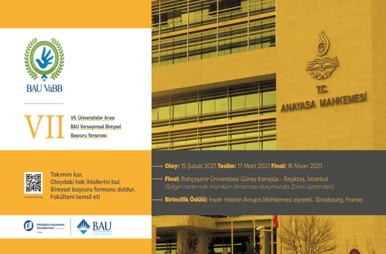 Bahçeşehir Üniversitesi Varsayımsal Bireysel Başvuru Yarışması duyuru görselidir.