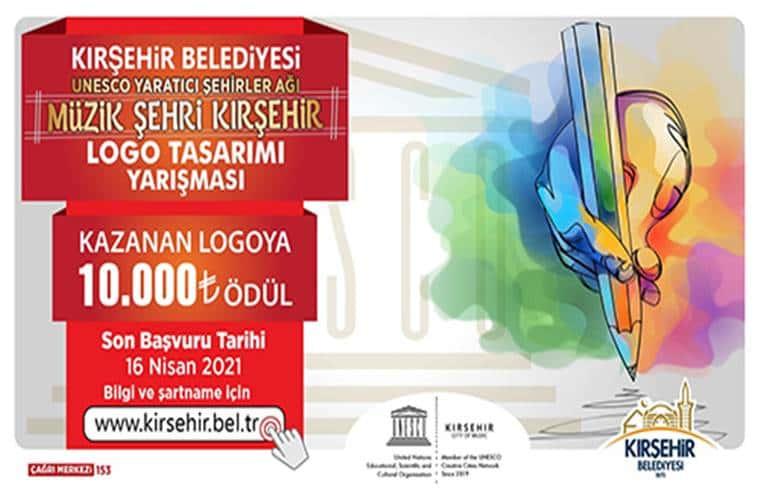 Müzik Şehri Kırşehir Logo Tasarımı Yarışması duyuru görselidir.