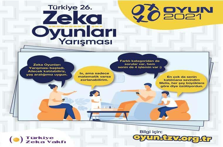 Türkiye Zekâ Oyunları Yarışması duyuru görselidir.