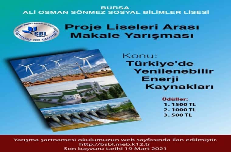 Türkiye'de Yenilenebilir Enerji Kaynakları Ulusal Makale Yarışması duyuru görselidir.